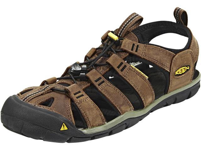 Keen Clearwater CNX Leather Sandalias Hombre, dark earth/black